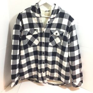 Ladies flannel and fleece plaid shirt